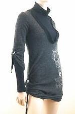 KAYLEE TANKUS Grey & Black Knitted Polo Mini Jumper Dress Long Length Top Sz:S