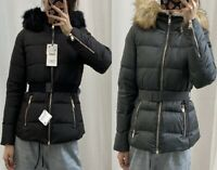 ZARA QUILTED FAUX FUR DUCK DOWN FEATHER HOODED BELTED PUFFER JACKET ANORAK COAT
