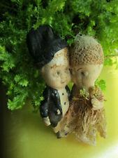 Antique Compo? Bisque Bride and Groom Cake Toppers Original Clothing