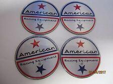 "4 AMERICAN RACING EMBLEMS 1 1/2 "" OR 1.50 ""  FOR 5 EARS PLASTIC CAPS"