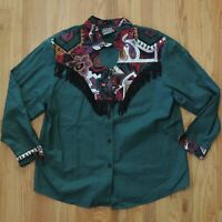 Ozark Mountain Vintage Shirt Womens Green Southwest Rodeo Western Size 20w