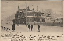 Boras Sweden Nedre Stationen Printed View Railway Station Winter Scene in 1905