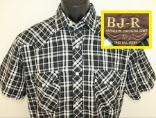 Bj-R authentic western wear vtg pearl snap button shirt M black white long tail