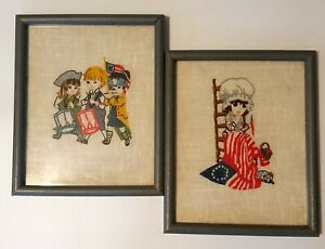 1970's Americana Framed Crewel & Embroidered Set of 2 Hand-made art pieces