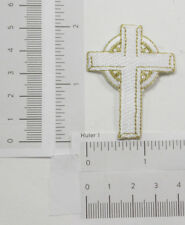 "Cross Iron on Patch Applique - 2"" White & Gold Cross Iron on Applique x 2"