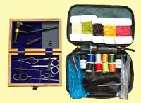 Fly Tying Kit with Tools in a Wooden Box, Materials in a Bag, Vise, Thread