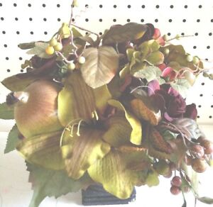 """12"""" Table Top Floral Faux Silk Black Vase Fall Floral Maroon and Green"""