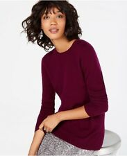 Charter Club Luxury 100% Cashmere Crewneck Pullover Sweater Burgundy NWT