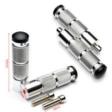 1 Pair Motorcycle Foot Pegs Rest Pedals Silver Durable Aluminum Anti-slip Thread