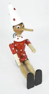 Burattino Pinocchio in Legno H cm 24 cappello bianco Puppet wood bois art 4/c