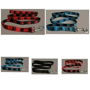 Dog Lead Paw Prints Webbing Red, Black, Blue