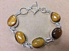 """NEW 925 Sterling Silver w. Nature Tiger Eyes Gemstone Bangle Bracelet 7.5-8.5"""""""