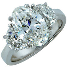 3 Stone 2.35 Carat Oval Shape Diamond Engagement Ring GIA Certified 18k Gold