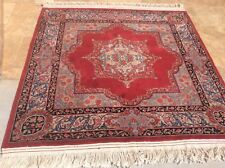 "VINTAGE PERSIAN KHORASAN ORIENTAL RUG HAND KNOTTED WOOL SQUARE 5' 4"" X 5' 3"""