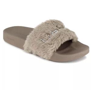 bebe Furiosa Fluffy Faux Fur Slide Sandals Rhinestones Taupe Brown Women's 7 New