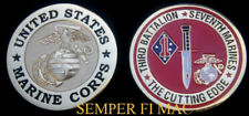 3/7 3rd Battalion 7th US MARINES 1ST MAR DIV CHALLENGE COIN FMF PIN UP MR GIFT
