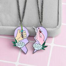 EP_ Best Buds Print Cigarette Lighter Partly Heart Shape Necklace Pendant Conven