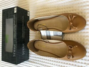 Serra 10 tan brown leather ballet flats BNWT Bow