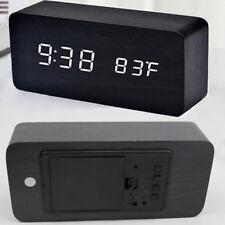 Wooden Digital Display Desk LED Alarm Clock Sound Temperature Alarm Home Decor