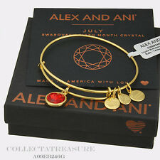 Authentic Alex and Ani July Birthstone Yellow Gold Ruby Expandable Bangle