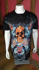 Camiseta de manga corta negro grande con estampado gráfico de cráneo Front & Back byhustler