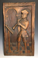 Vintage Spain Wood Carved Ouro Musician Wall Plaque 20th C. Wooden Carving