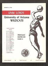 Vintage 1964 NEW MEXICO Lobos vs. ARIZONA WILDCATS College Basketball Program