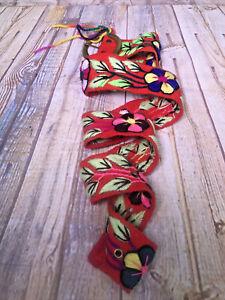 sundane catalog boho hippie embroidered woven wool belt florall from Peru L/44