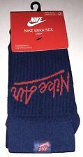 Nike SNKR Sox Crew Socks 2 Pair Men 8-12 Women10-13 Blue Red NEW! 23 Sneaker $18