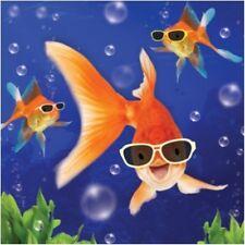 3D OLOGRAFICA i pesci rossi compleanno carta quadrato cartoline d'auguri