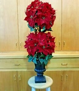 """Christmas Poinsettia 42"""" Topiary Tree Red Velvet Plant Double Ball Artificial"""