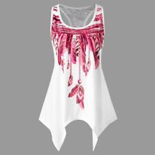 Women Summer Asymmetrical Vest Sleeveless Shirt Blouse Casual Tank Tops T-shirt Pink S