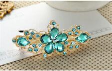 Lake blue Crystal Rhinestone Flower Hair Barrette Clip Hairpin Fashion Jewelry