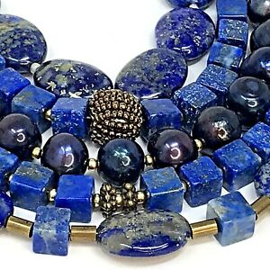 Artisan Beaded Bracelet Multi Strand Gemstone Blue Lapis Lazuli Sodalite Pearls