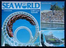 Sea World Corkscrew Dolphin Jump Viking Flume Ride c1980's Postcard (P244)