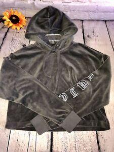Juicy Couture Crop Grey Sweatshirt Velour Hoodie Sz. M NWOT