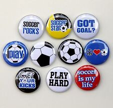 "10 SOCCER STAR Buttons Pinbacks Badges 1"" Sport Team"