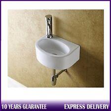 Compact Small D-Shape Wall Hung Cloakroom Ceramic Mini Basin Sink 295mmx220mm LH