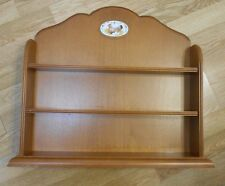 Vintage Farm Cameo Wood 3-Shelf Wall Display Case China Curio Chicken 19x22x5