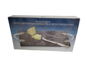 Godinger Silver Plated Olde Cpoenhagen Marble Tray with Cheese Knife in Box