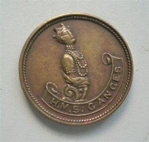 UK,H.M.S. Ganges  Bronze medal, 1930's,  32 mm Diameter.{G771}