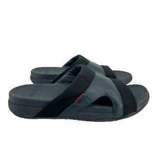 Fitflop Men's Freeway Pool Slides Midnight Navy Size 13 Microwobbleboard Midsole