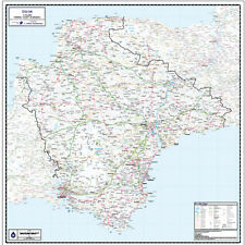 DEVON COUNTY WALL MAP - LAMINATED EDITION - MAP SCALE 1:150,000