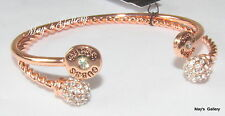 GUESS  Jeans Rhinestones Bangle Bracelet Rose gold Tone Charms Logo Set of 2 NWT