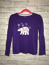 GAP KIDS GIRLS SMALL 6-7 POLAR BEAR PURPLE TEE T TOP LONG SLEEVES BEST FRIENDS