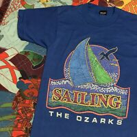 Vintage 90s The Ozarks Sailing Sailboat T Shirt Adult S Blue 3D Print USA