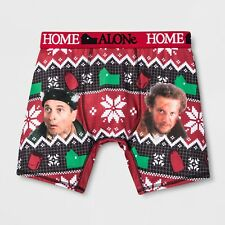 Mens Home Alone Holiday Christmas Boxer Briefs Sleep Shorts Ugly Sweater Bandits