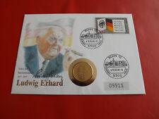 *Deutschland Numisbrief 1990 *L .Erhard mit 2 Mark 1989 /Gold Veredelt (ALB21)