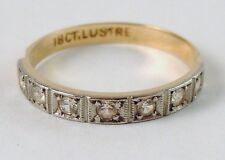 100% Genuine Antique 18K Solid Yellow Gold and Natural Clear Quartz Ring Sz 6 US