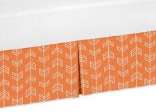 Orange And White Baby Crib Skirt Or Dust Ruffle For Sweet Jojo Arrow Bedding Set